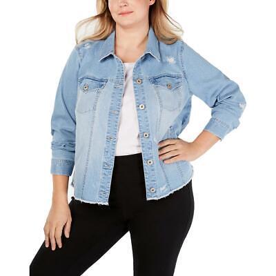 Style & Co. Womens Blue Distressed Denim Jacket Outerwear Plus 16W BHFO 2157