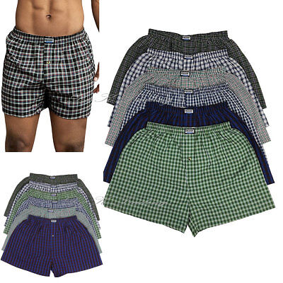 6~36 Pack Men's Boxer Trunk Plaid Shorts Underwear Button Fly Briefs S-3XL (Button Fly Boxer Shorts)