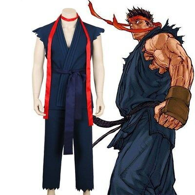 Halloween Men's Street Fighter Ryu Blue Cosplay Costume Anime Movie