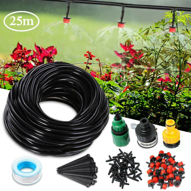 82 FT DIY Micro Drip Irrigation Kit System Hose Drippers Garden Plant Watering