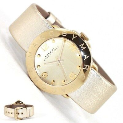 MARC JACOBS AMY GOLD TONE PALE SHINY METALLIC LEATHER BAND WATCH MBM8627 $175.00