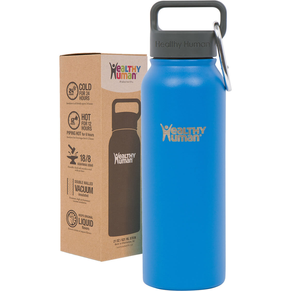 e86c75f29 Details about Healthy Human 21 oz Bahama Insulated Stainless Steel Water Bottle  Stein