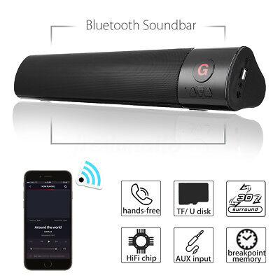 10W HIFI SOUNDBAR CASSA SPEAKER BLUETOOTH STEREO SUPER BASS USB FM AUX PORTATILE