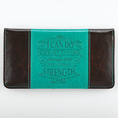 CHECKBOOK COVER I Can Do Everything Through Him Turquoise and Dark Brown Cover