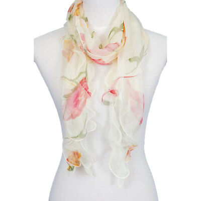 - Double Layer 100% Silk, Floral Ruffle Silk Scarf, Summer scarf, Hot sale