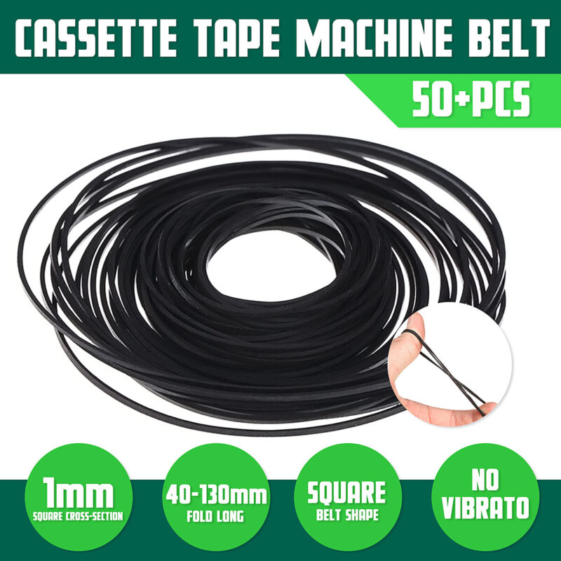 50Pcs 40-130mm Mix Cassette Tape Drives Decks Belt Assorted Repair Common Belts