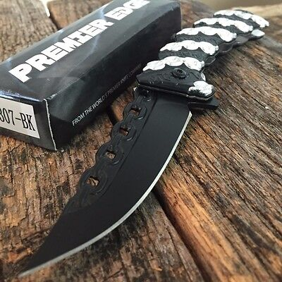 Chain Linked Handle Tactical Spring Assisted Open Rescue Pocket Knife Sharp