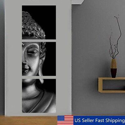 (3Pcs Set Black Buddha Canvas Print Art Painting Wall Picture Home Decor Unframed)