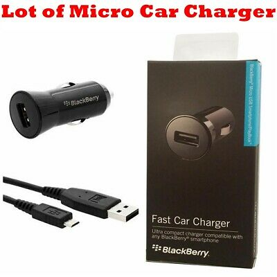 Blackberry Oem Car Charger (LOT- OEM Blackberry 1A Travel Car Auto Adapter + Micro USB Cable Vehicle Charger )