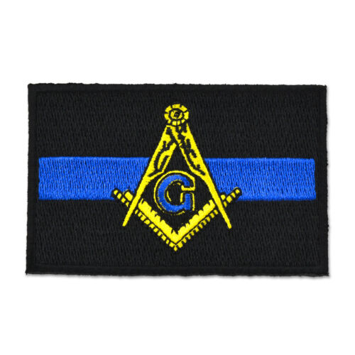 Police Thin Blue Line Square & Compass Embroidered Masonic Patch