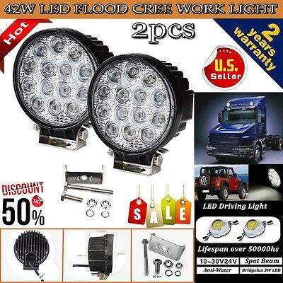 2PCS 42W Cree LED WORK LIGHT BAR FLOOD BEAM LAMP OFFROAD TRUCK 12V SUV UTE ATV