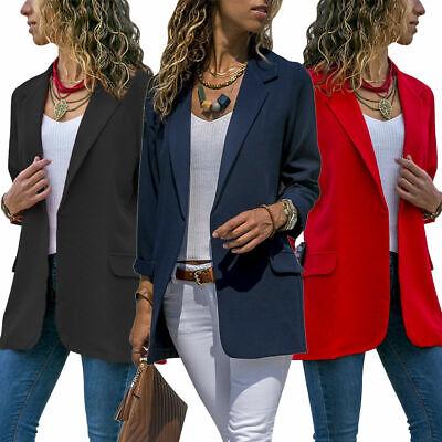 US Women Slim Casual Suit Blazer Coat Jacket OL Office Work Long Sleeve Outwear