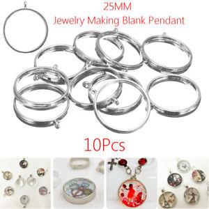 10Pcs 25mm Open Back Bezel Setting Silver Resin Jewelry Making Blank Pendant