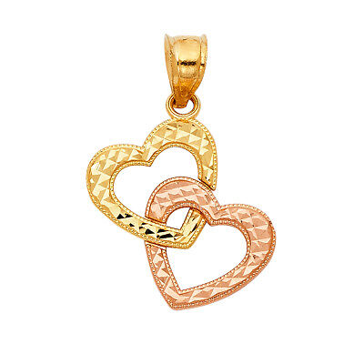 14K Yellow Rose Gold Double Heart Pendant Height - 20 MM Width - 18 MM 20 Mm Double Hearts