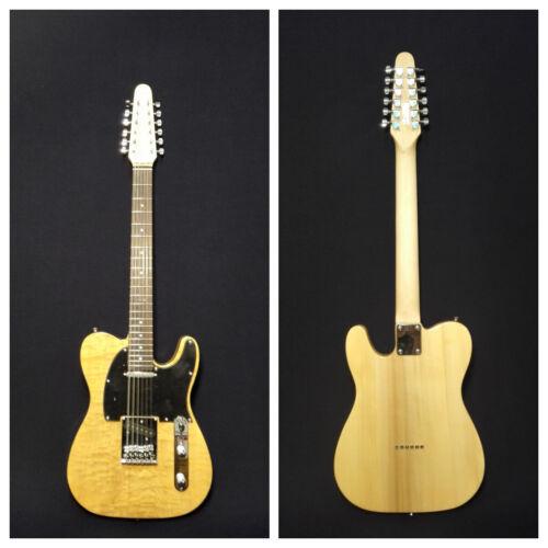 Haze HSTL-100BNA-12SB 12-String Electric Guitar,Natural Quilted Top+Free Gig Bag