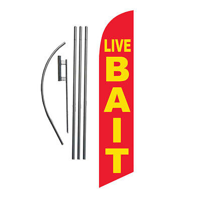 LIVE BAIT 15 Feather Banner Swooper Flag Kit with pole+spike fishing