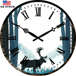 15 Wall Clock Large Round Clocks Art Blue Wapiti Home Room Decor Wooden Made