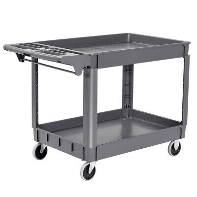 Plastic Utility Service Cart 550 Lbs Capacity 2 Shelves Rolling 46 X 25 X 33