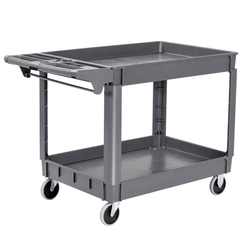 "Plastic Utility Service Cart 550 LBS Capacity 2 Shelves Rolling 46"" x 25"" x 33"""