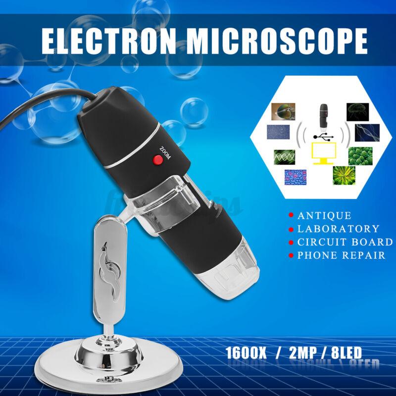 8LED 1600X USB Digital Microscope Biological Endoscope Magnifier Camera W/ Stand