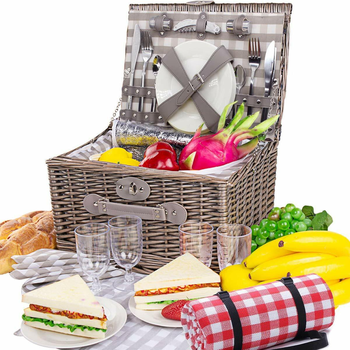 Large natural wicker picnic basket with food cooler and wate