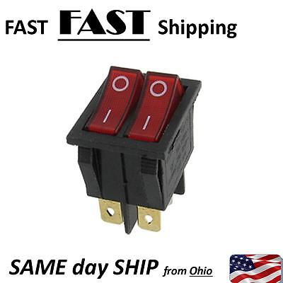 Red Light Double Spst Onoff Snap In Boat Rocker Switch 6 Pin