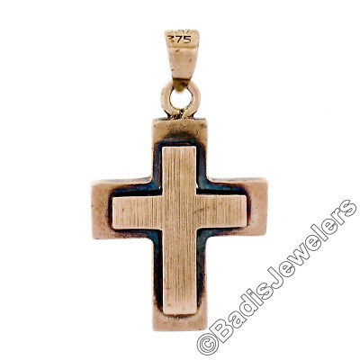 - Antique Victorian 8K Pink Gold Petite Reversible Brushed Finish Cross Pendant