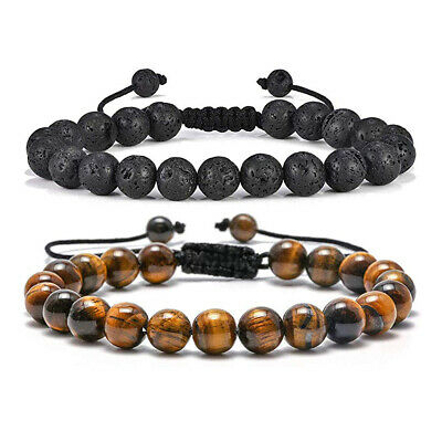 2PCS Tiger Eye Lava Rock Stone Bangle Anxiety Stress Relief Men Women Bracelets