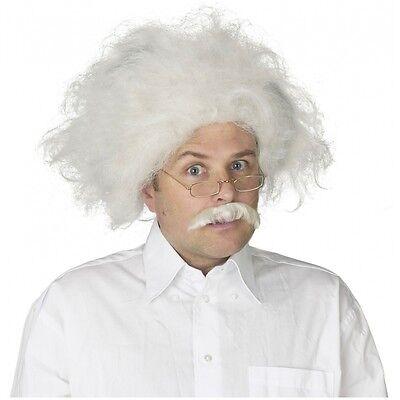 Albert Einstein Wig Mustache Adult Mad Scientist Costume Halloween Fancy Dress (Mustache Costumes)