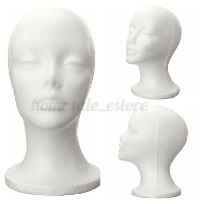 Female Styrofoam Mannequin Foam Head Model Glasses Hat Wig Display Storage Stand