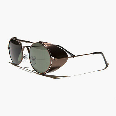 Copper Steampunk Sunglass with Folding Side Shields Green Lens - Bram (Sunglasses With Side Lenses)