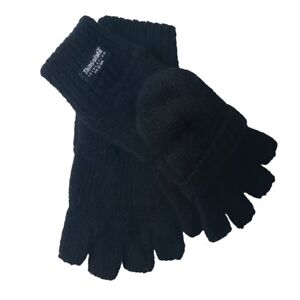 Oodoor Men's 3M Thick Wool Fingerless Winter Gloves with Thinsulate One Size
