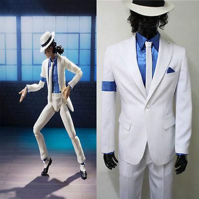 Michael Jackson Smooth Criminal White Suit Uniform Men's Cosplay Concert Costume](Smooth Criminal Costume)
