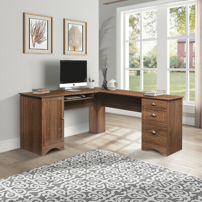 L-Shaped Table Home Office Desk Wood Corner Computer W/3 Drawers storage shelves L-shaped Office Table