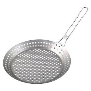 Große Metall Grillpfanne mit klappbarem Grill Gelocht Antihaft BBQ Gemüse Pfanne