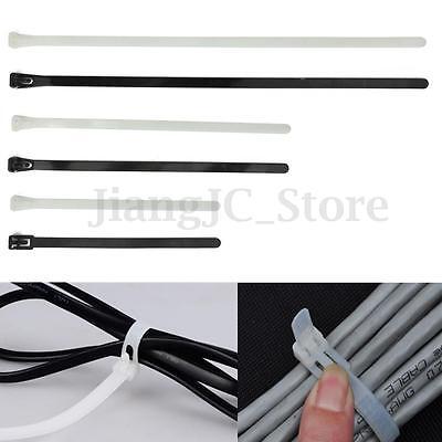 100x Releasable Reusable Cable Tie Zip Wraps Ratchet Ties Wire 150200300x8mm