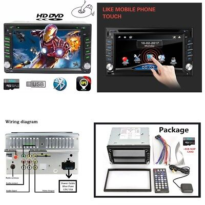 GPS Navigation 2-Din Car Stereo DVD CD Player Bluetooth Radio+North America map