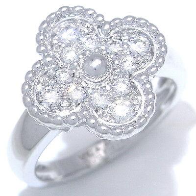 Van Cleef & Arpels 18K WG Vintage Alhambra Diamond Ring sz 52