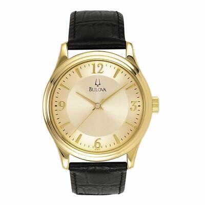 Bulova Women's Quartz Gold-Tone, Black Leather Bracelet 30mm Watch 97V25