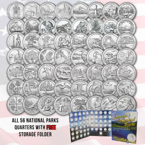 Complete Set Of America The Beautiful Quarters - 56 uncirculated Qtrs 2010-2021