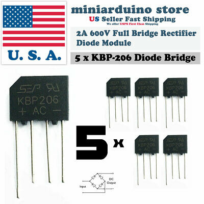 5pcs Kbp206 Generic Diode Full Bridge Rectifier 2a 600v 4pin