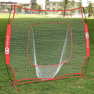 7'×7' Baseball Softball Practice Hitting Batting Training Net Bow Frame Red Bag