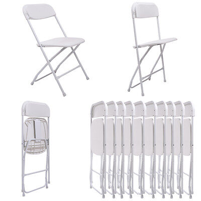 (10 PACK) Weight Capacity Commercial Quality Plastic Folding Chairs White