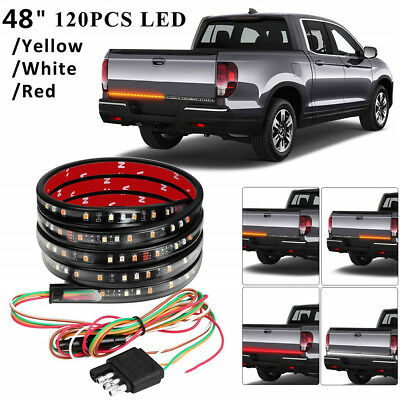 "48"" 3 Colors LED Pickup Truck Tailgate Reverse Brake Turn Signal Tail light Bar"