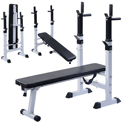 Adjustable Folding Sit Up Bench Barbell Weight Dip Station Lifting Chest Press