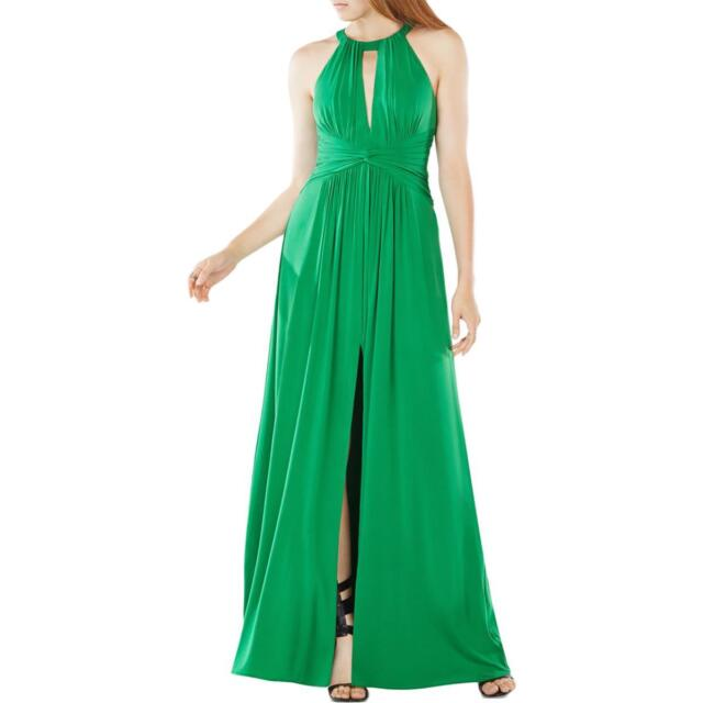 BCBG Max Azria Green Women\'s Size 4 Halter Slit Pleated Gown Dress ...