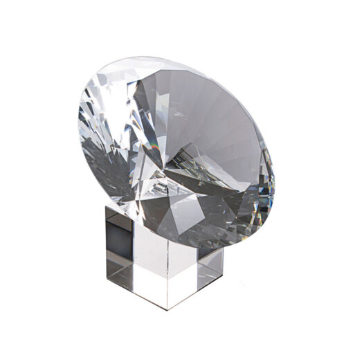 150mm Crystal Glass Diamond Paperweight Wedding Venue Decor with Stand Gift Box