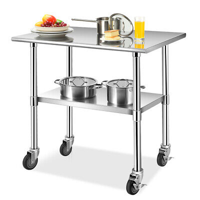 3624 Stainless Steel Work Table Commercial-grade Top Wlockable Wheels Silver
