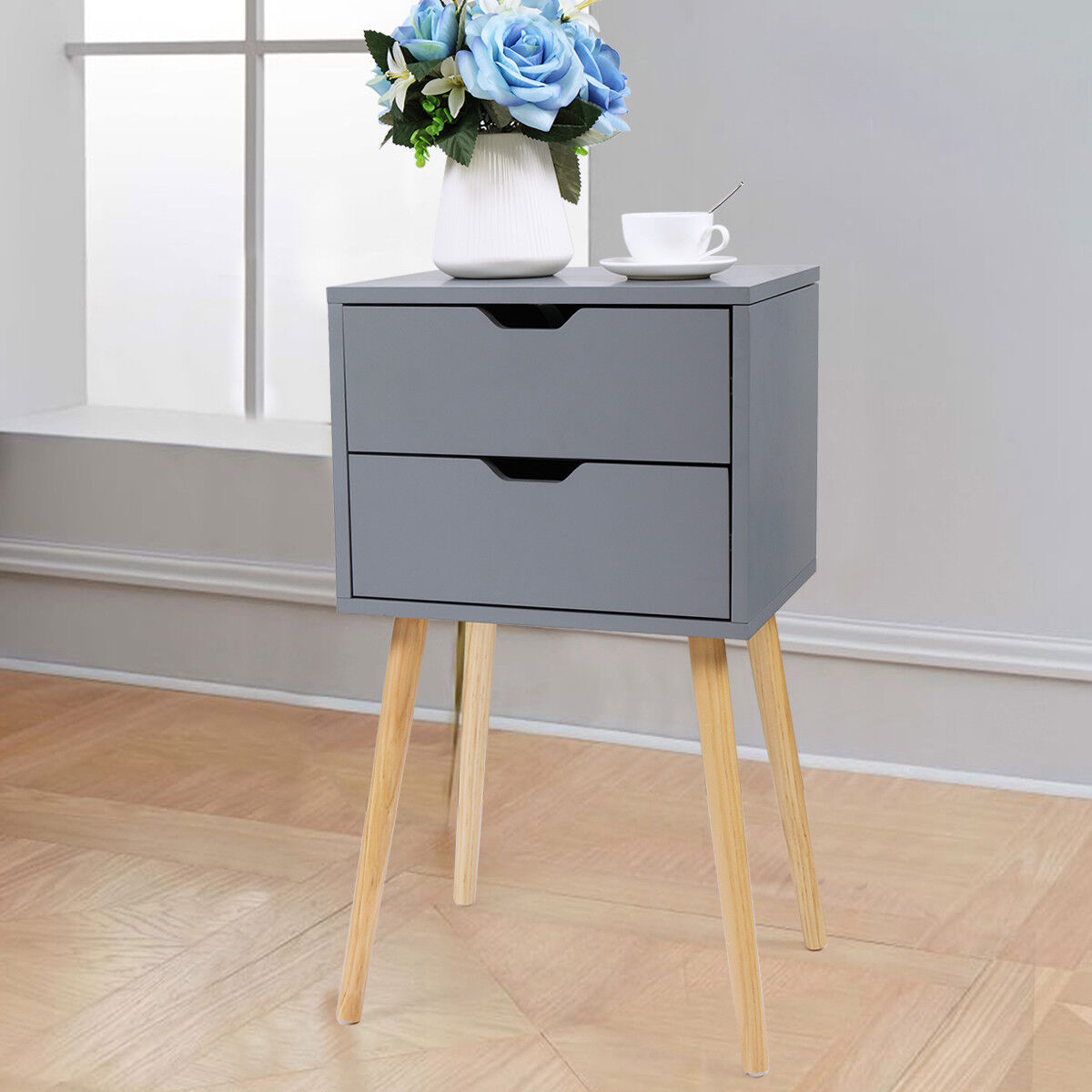Gray Nightstand Bedside Table Sofa End Table Bedroom Night S