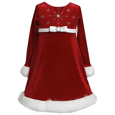 Bonnie Jean Santa Christmas Red Dress Velvet Sparkle Snowflake  Girls 2T 3T 4T